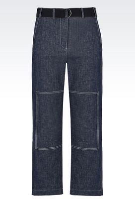 Armani Pantaloni Donna pantaloni cropped in denim di cotone e lino