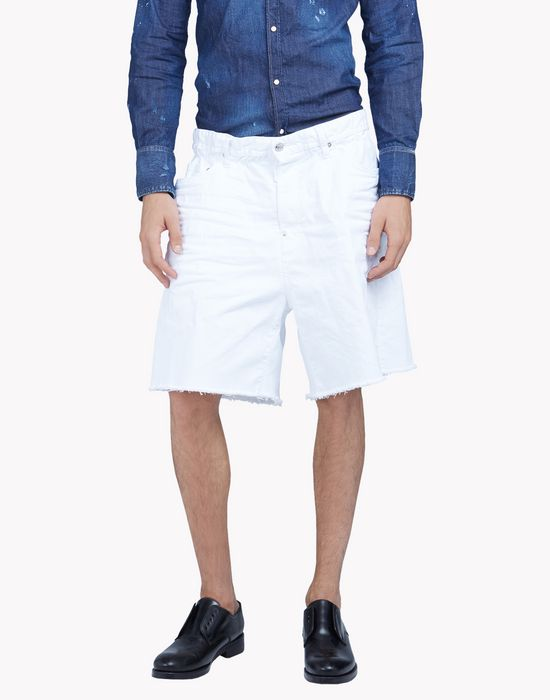 baggy white denim shorts pants Man Dsquared2