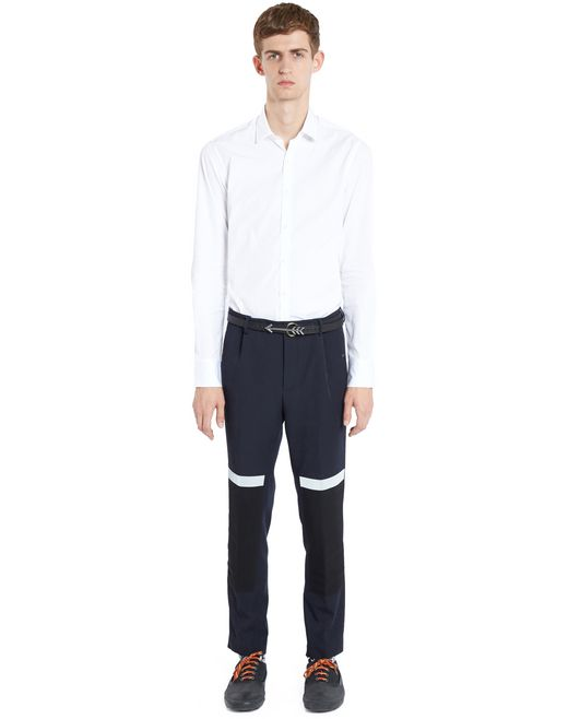 lanvin slim-fit trousers with reflective patches men