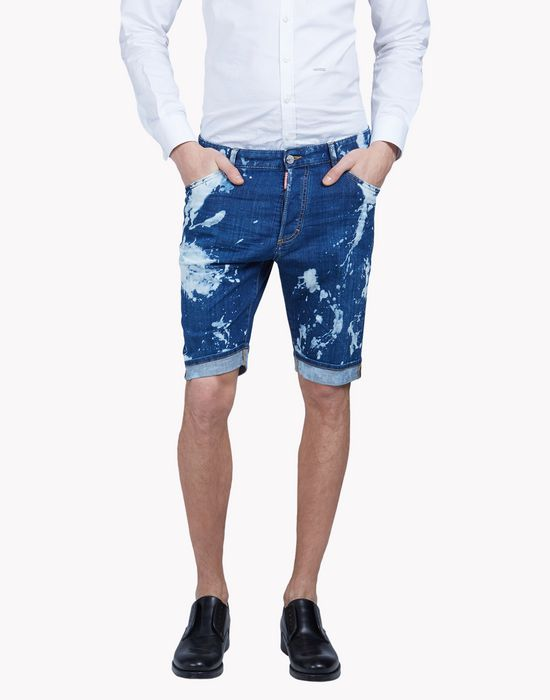 bleached denim shorts pants Man Dsquared2