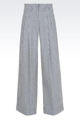 Armani Pantaloni Donna pantaloni palazzo in lino e cotone con risvolto