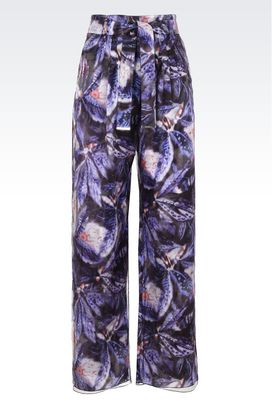 Armani Pantaloni Donna pantaloni ampi in raso di seta e tulle