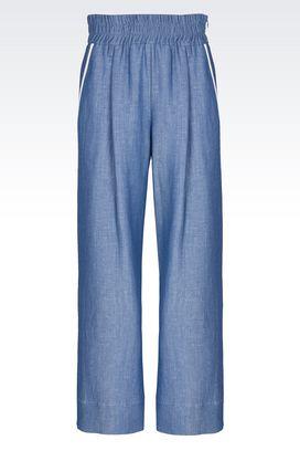 Armani Pantaloni Donna pantaloni ampi in lana e lino