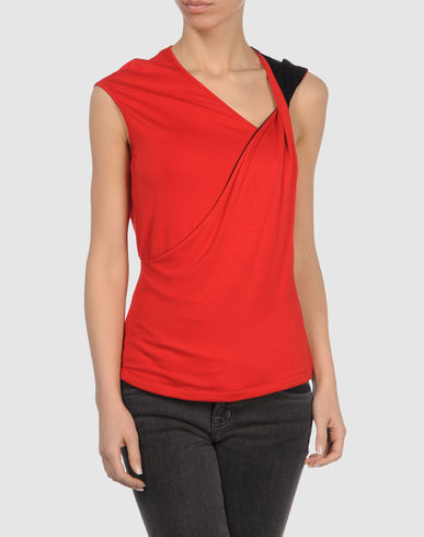 AMAYA ARZUAGA -  Red Twist Shoulder Top :  amaya arzuaga top sleeveless top red top