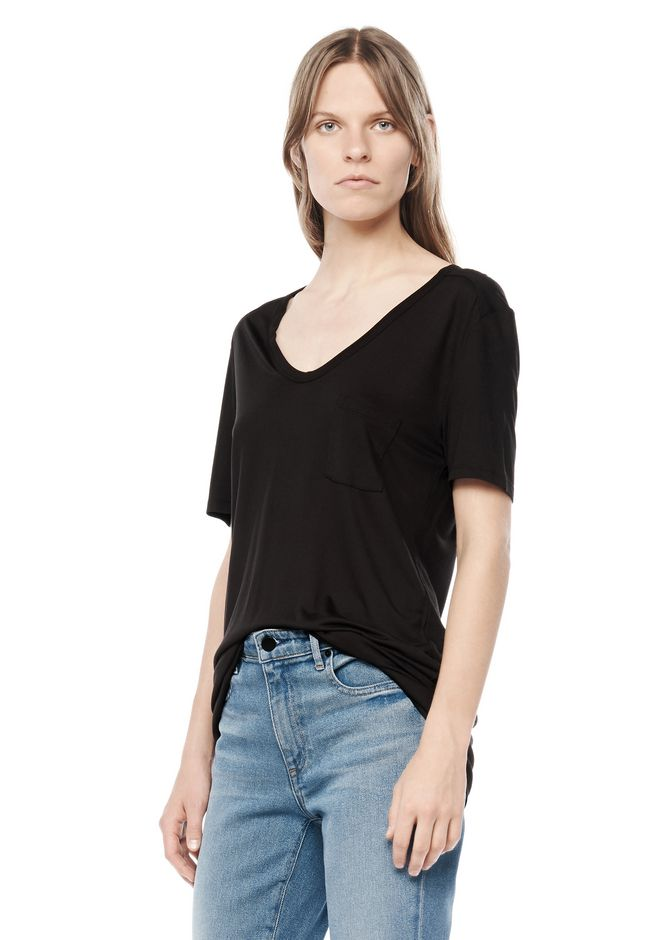 T by ALEXANDER WANG CLASSIC TEE WITH POCKET Short sleeve t-shirt Adult 12_n_a