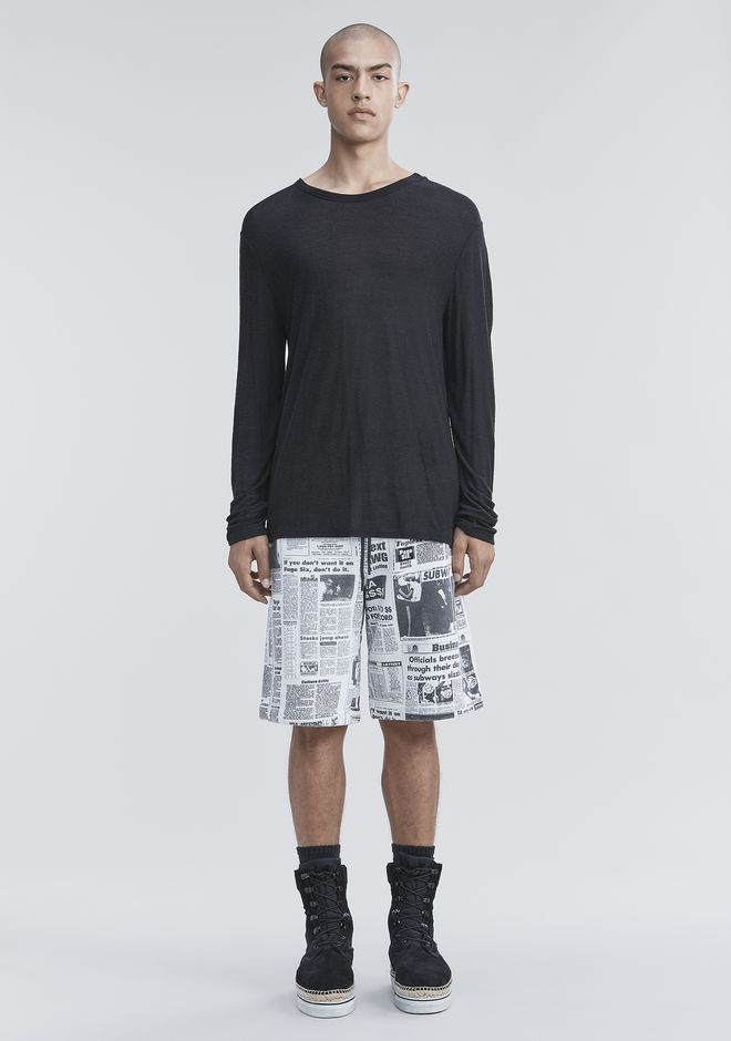 T by ALEXANDER WANG SLUB RAYON SILK LONG SLEEVE TEE