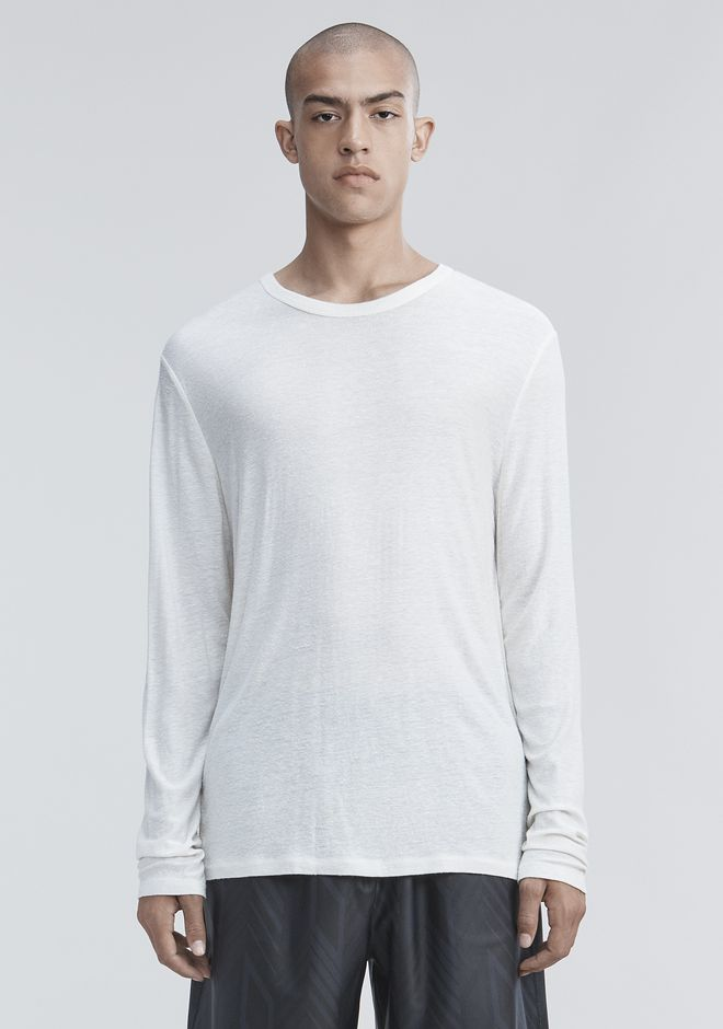 T by ALEXANDER WANG SLUB RAYON SILK LONG SLEEVE TEE LONG SLEEVE TEE Adult 12_n_e
