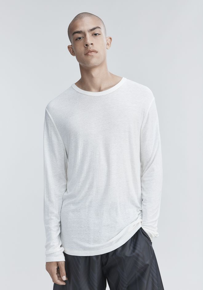 T by ALEXANDER WANG SLUB RAYON SILK LONG SLEEVE TEE LONG SLEEVE TEE Adult 12_n_r