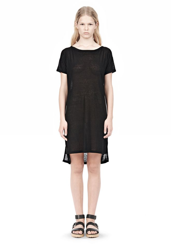 T by ALEXANDER WANG SLUB CLASSIC BOATNECK DRESS  Short Dress Adult 12_n_f