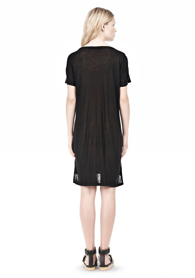 T by ALEXANDER WANG SLUB CLASSIC BOATNECK DRESS  Short Dress Adult 12_n_r