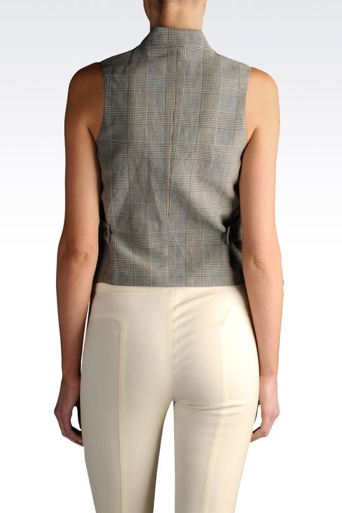 double-breasted Prince of Wales vest: Sleeveless tops Women by Armani - 2