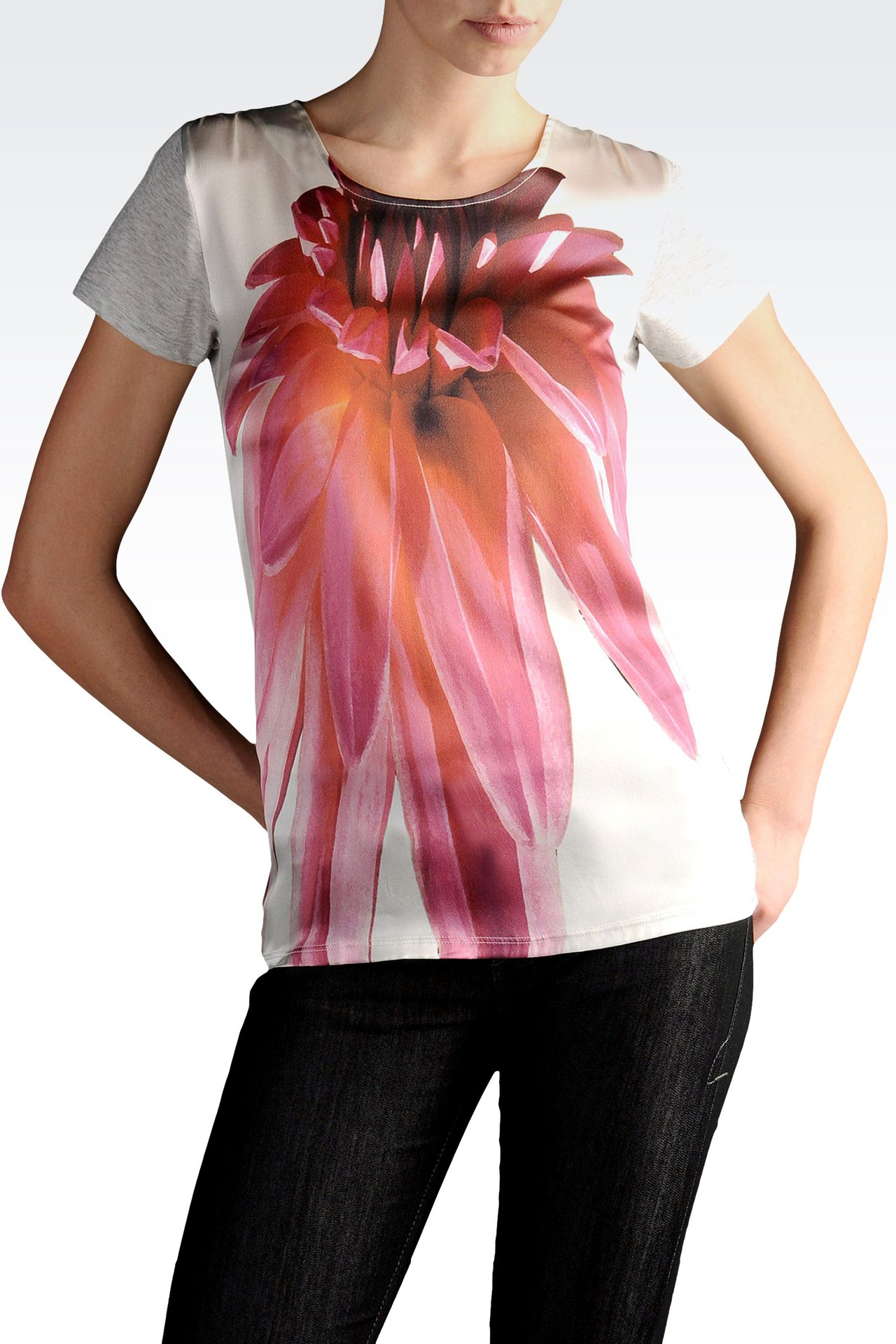 jersey and silk T-shirt with floral print: Short-sleeve t-shirts Women by Armani - 0