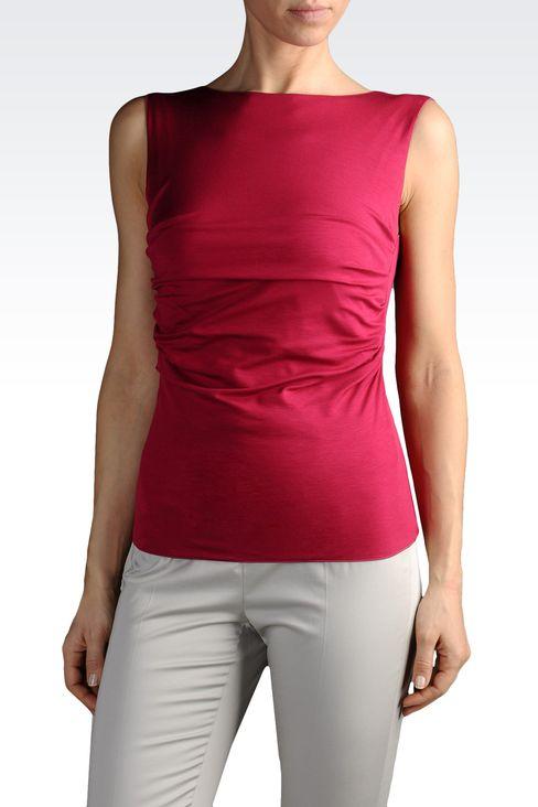 armani collezioni women boat neck jersey top. Black Bedroom Furniture Sets. Home Design Ideas