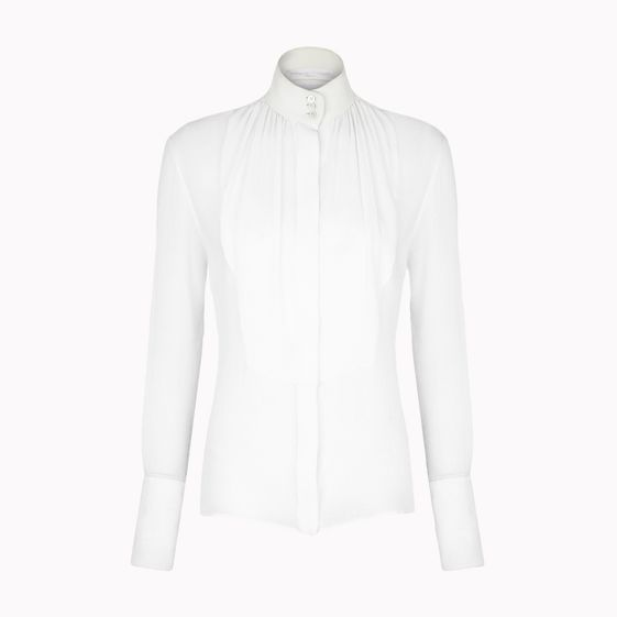 Stella McCartney, White Silk Chiffon Crepon Emilia Shirt