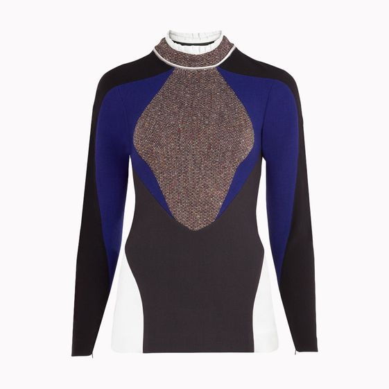 Stella McCartney, Top Alda en tweed stretch gris et multicolore
