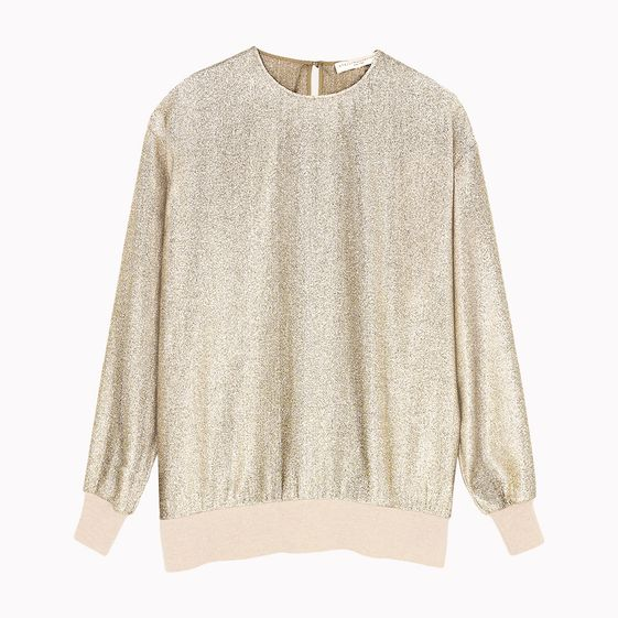 Stella McCartney, Goldfarbenes Top aus Georgette-Lurex