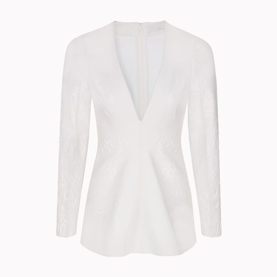 Stella McCartney, New White Double Face Wool Stretch Pia Embossed Top