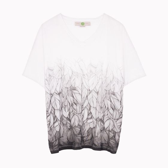 Stella McCartney, V Neck White leaf Print T-Shirt 