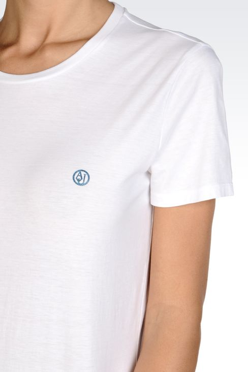 COTTON T-SHIRT WITH LOGO: Print t-shirts Women by Armani - 5