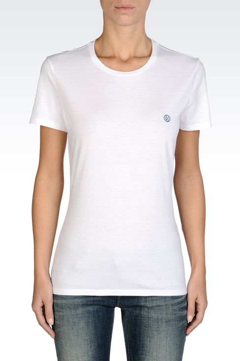 COTTON T-SHIRT WITH LOGO: Print t-shirts Women by Armani - 3