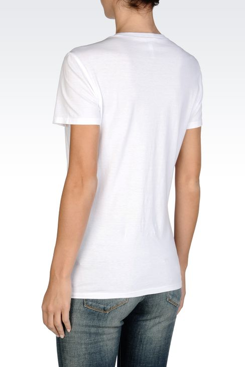 COTTON T-SHIRT WITH LOGO: Print t-shirts Women by Armani - 4