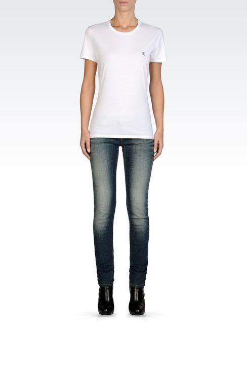 COTTON T-SHIRT WITH LOGO: Print t-shirts Women by Armani - 2