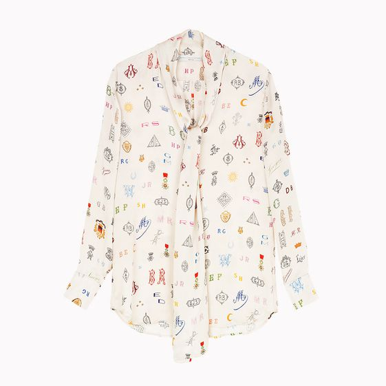 Stella McCartney, Monogram Print Tie Front Blouse
