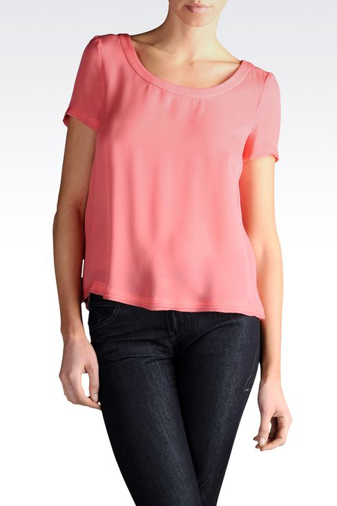 Short-sleeved crêpe blouse square neck: Short-sleeved tops Women by Armani - 1
