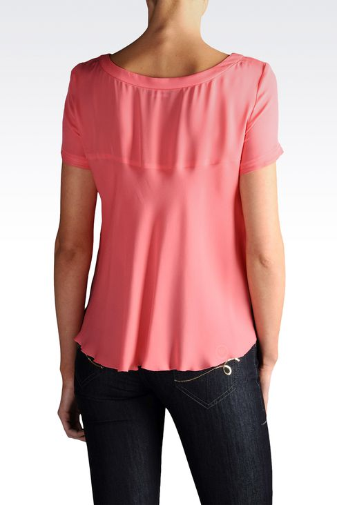 Short-sleeved crêpe blouse square neck: Short-sleeved tops Women by Armani - 2