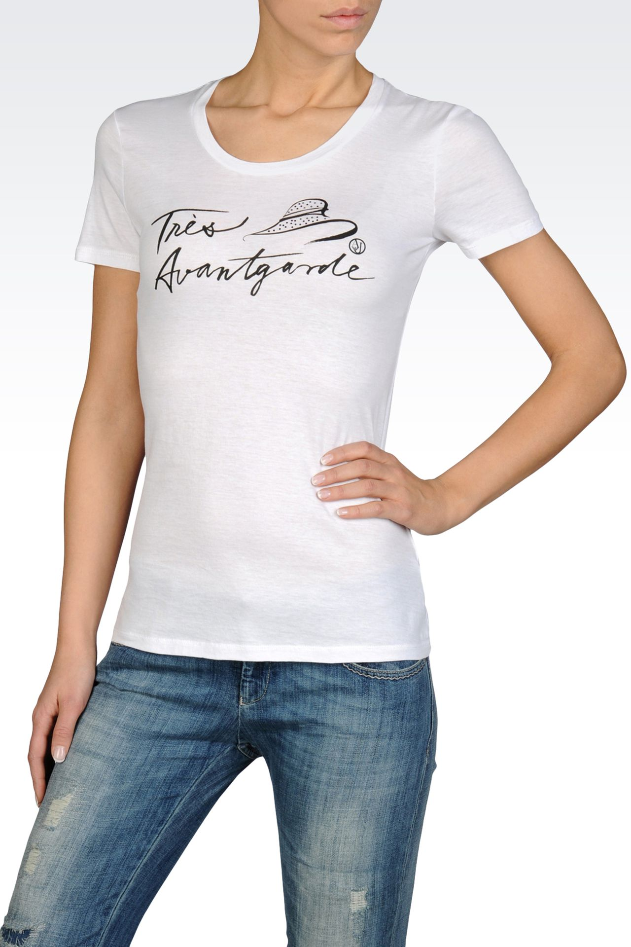 JERSEY T-SHIRT WITH TRÈS ELEGANTE PRINT: Print t-shirts Women by Armani - 0