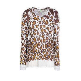 STELLA McCARTNEY, T-shirt, T-Shirt a Maniche Lunghe in Cotone Organic con Stampa Leopardo