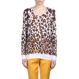 STELLA McCARTNEY, T-Shirt, Leopard Print Organic Cotton Long Sleeved Tee