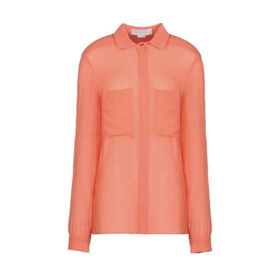Stella McCartney, Coral Silk Chiffon Crepon Constance Shirt