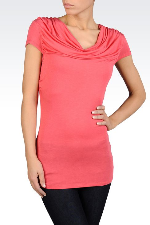 T-SHIRT WITH SOFT NECK IN STRETCH VISCOSE: Short-sleeved tops Women by Armani - 1