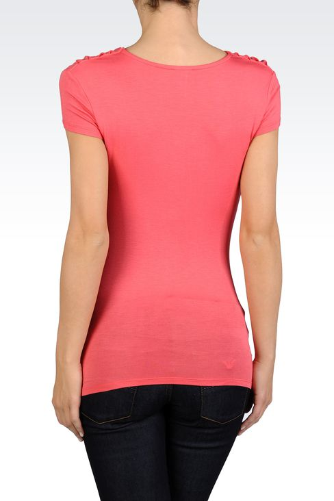 T-SHIRT WITH SOFT NECK IN STRETCH VISCOSE: Short-sleeved tops Women by Armani - 2