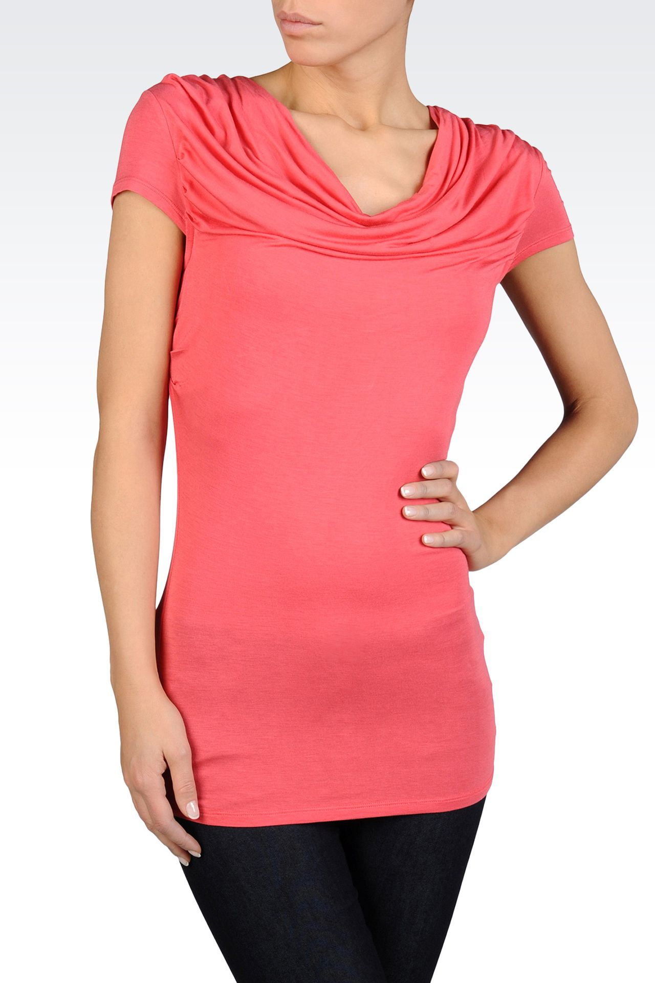 T-SHIRT WITH SOFT NECK IN STRETCH VISCOSE: Short-sleeved tops Women by Armani - 0