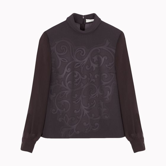 Stella McCartney, Top gaufré Tilda en laine double face écorce stretch