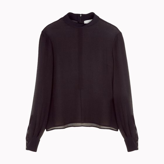 Stella McCartney, Top &quot;Tilda&quot; aus schwarzem Seidenchiffon und Kreppgewebe.