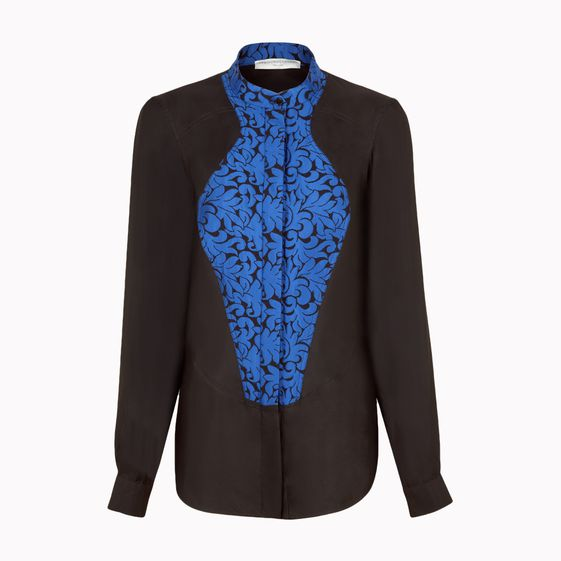 Stella McCartney, Cornflower Leaf Brocade Jacquard Lucrezia Shirt