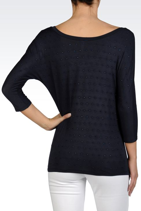 WIDE NECK KNIT IN STRETCH VISCOSE JERSEY: Crewneck sweaters Women by Armani - 2
