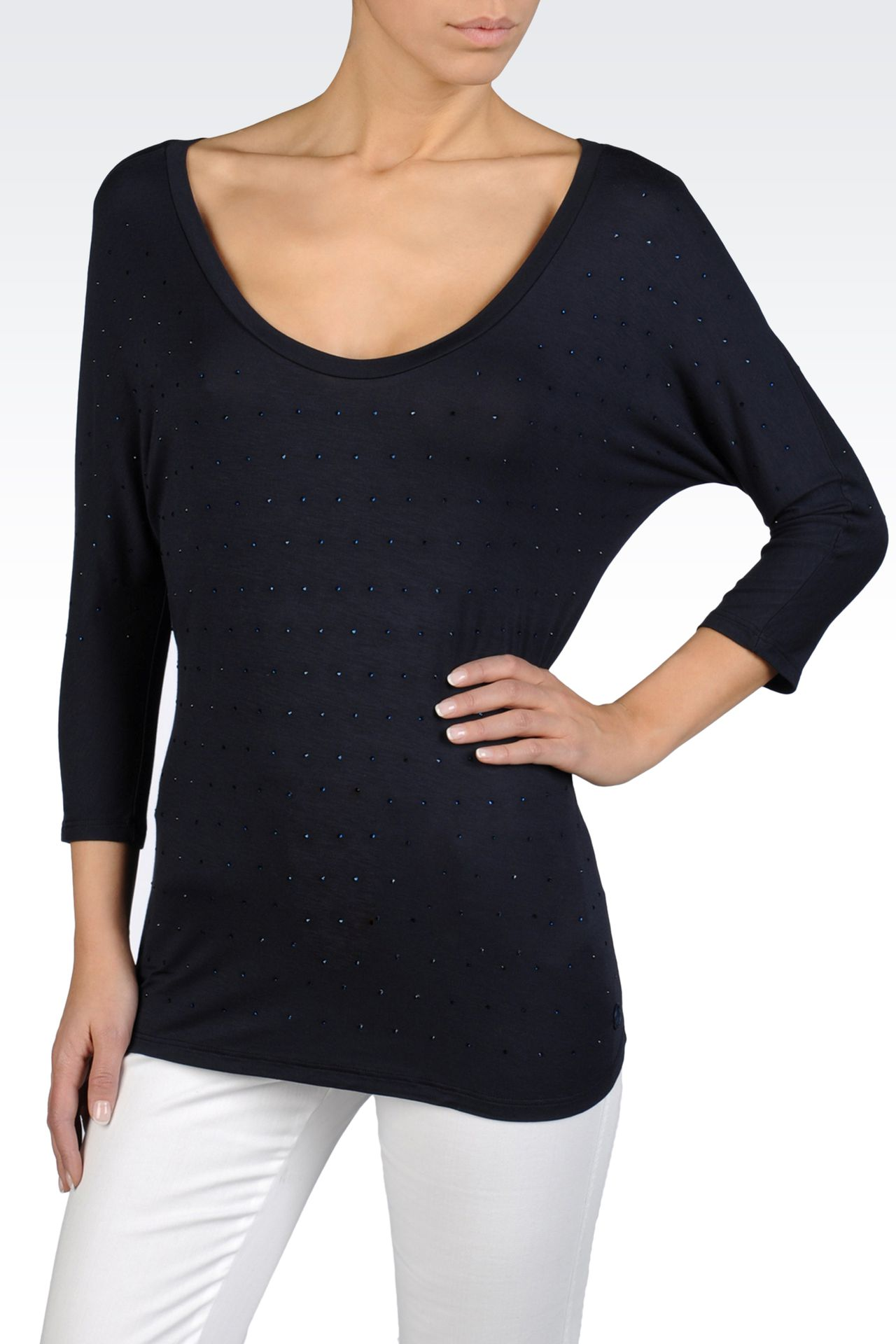 WIDE NECK KNIT IN STRETCH VISCOSE JERSEY: Crewneck sweaters Women by Armani - 0