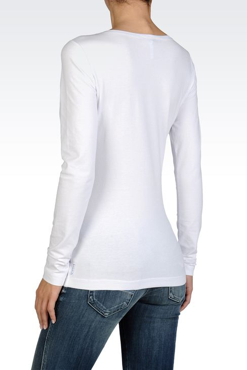 LONG-SLEEVED JERSEY T-SHIRT WITH AJ PRINT: Print t-shirts Women by Armani - 2
