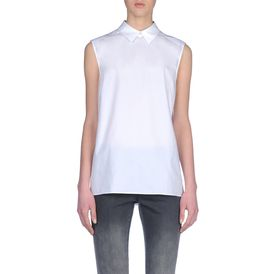 STELLA McCARTNEY, Sleeveless, White Washed Poplin Sleeveless Rosaline Shirt
