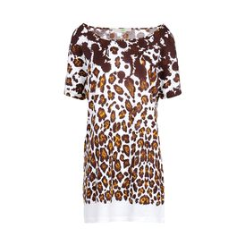 STELLA McCARTNEY, Manica corta, T-Shirt in Cotone Organic con Stampa Leopardo
