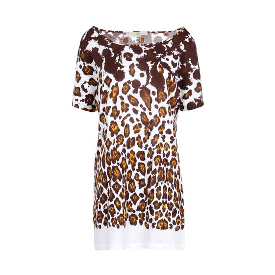 Stella McCartney, T-Shirt in Cotone Organic con Stampa Leopardo