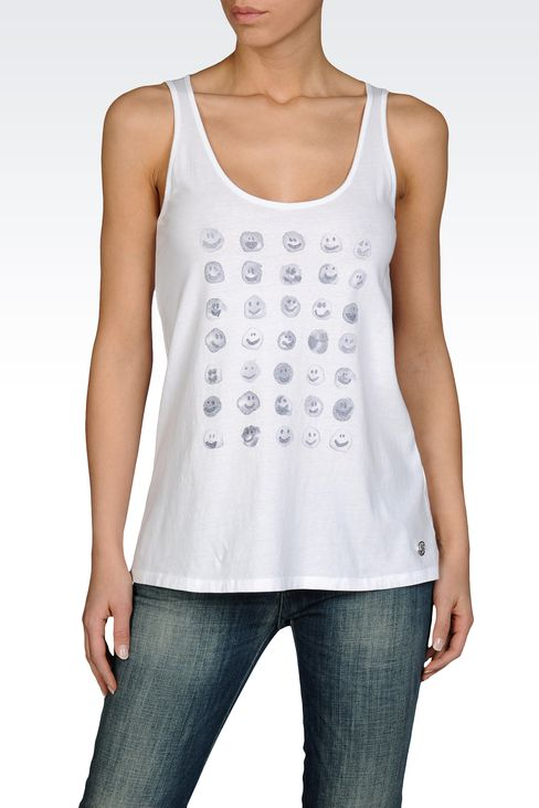 COTTON JERSEY TANK WITH EMOTICON PRINT: Print t-shirts Women by Armani - 1