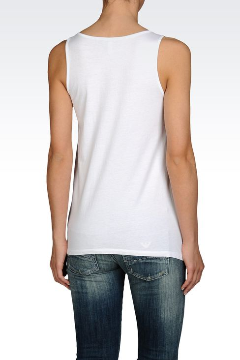 COTTON JERSEY TANK WITH EMOTICON PRINT: Print t-shirts Women by Armani - 2