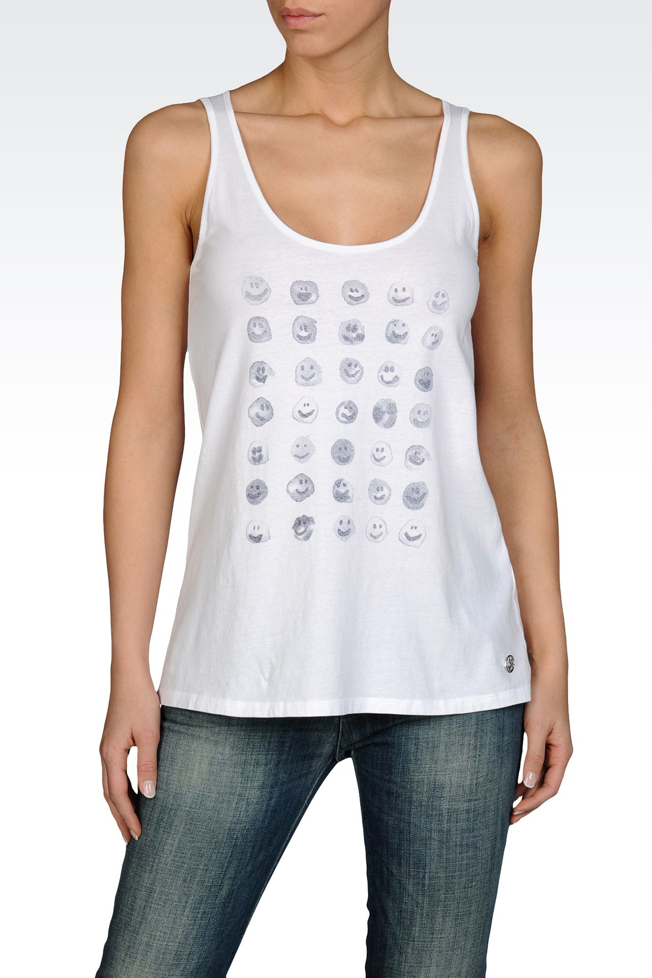 COTTON JERSEY TANK WITH EMOTICON PRINT: Print t-shirts Women by Armani - 0