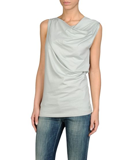 DRAPED TOP IN COTTON JERSEY
