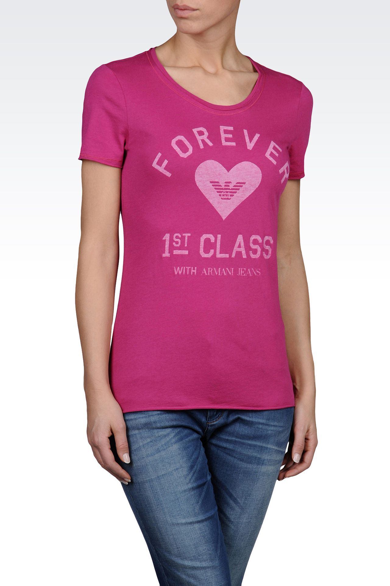 JERSEY T-SHIRT WITH FOREVER 1ST CLASS PRINT: Print t-shirts Women by Armani - 0